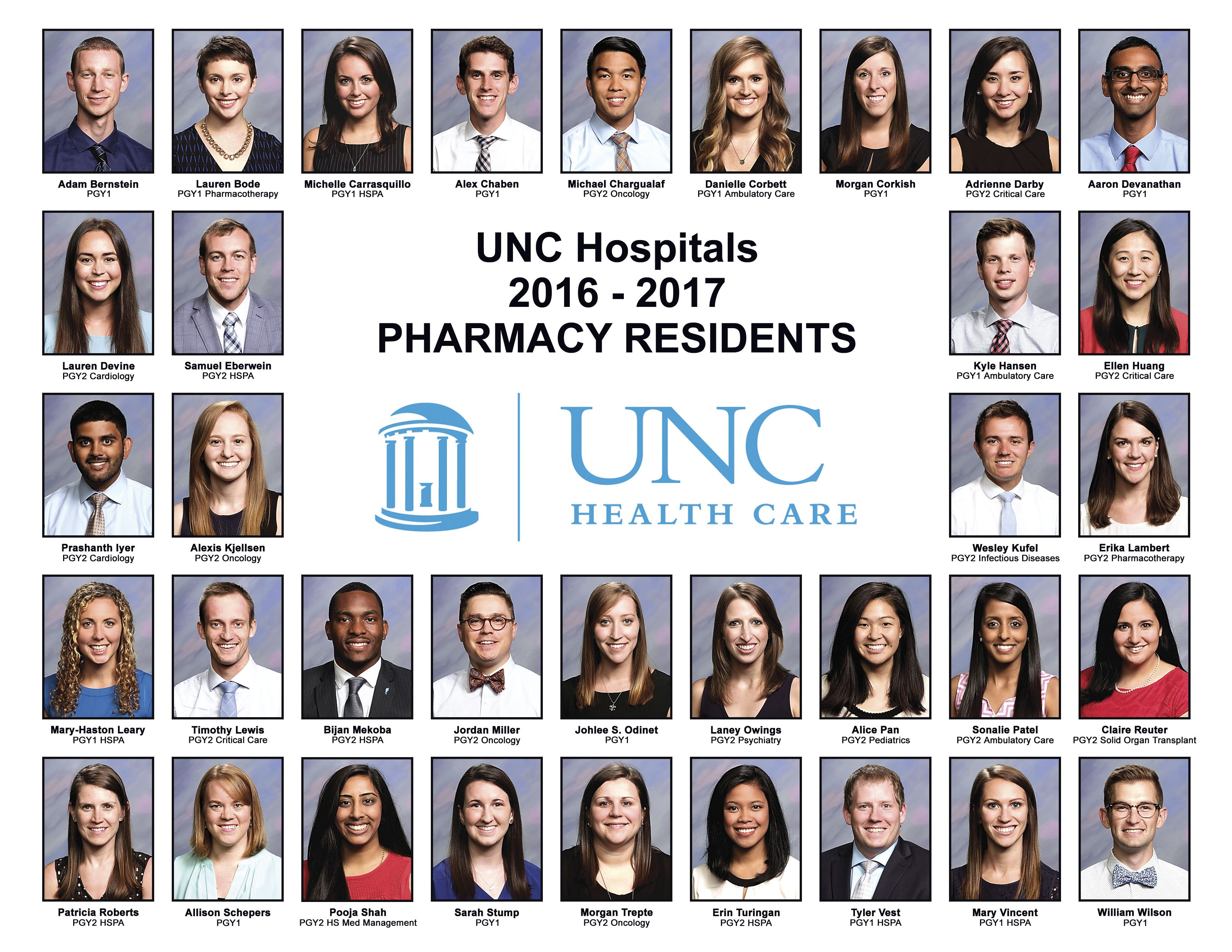 UNC Pharmacy Residency Roster