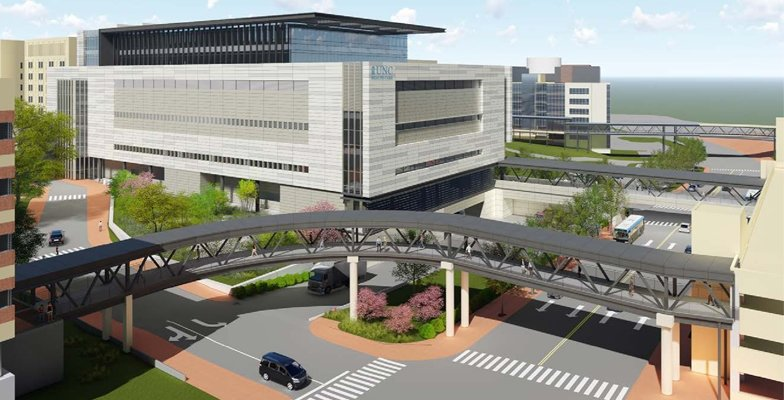Sky view of the new surgical tower rendering