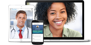 Multiple devices displaying UNC Urgent Care 24/7 app